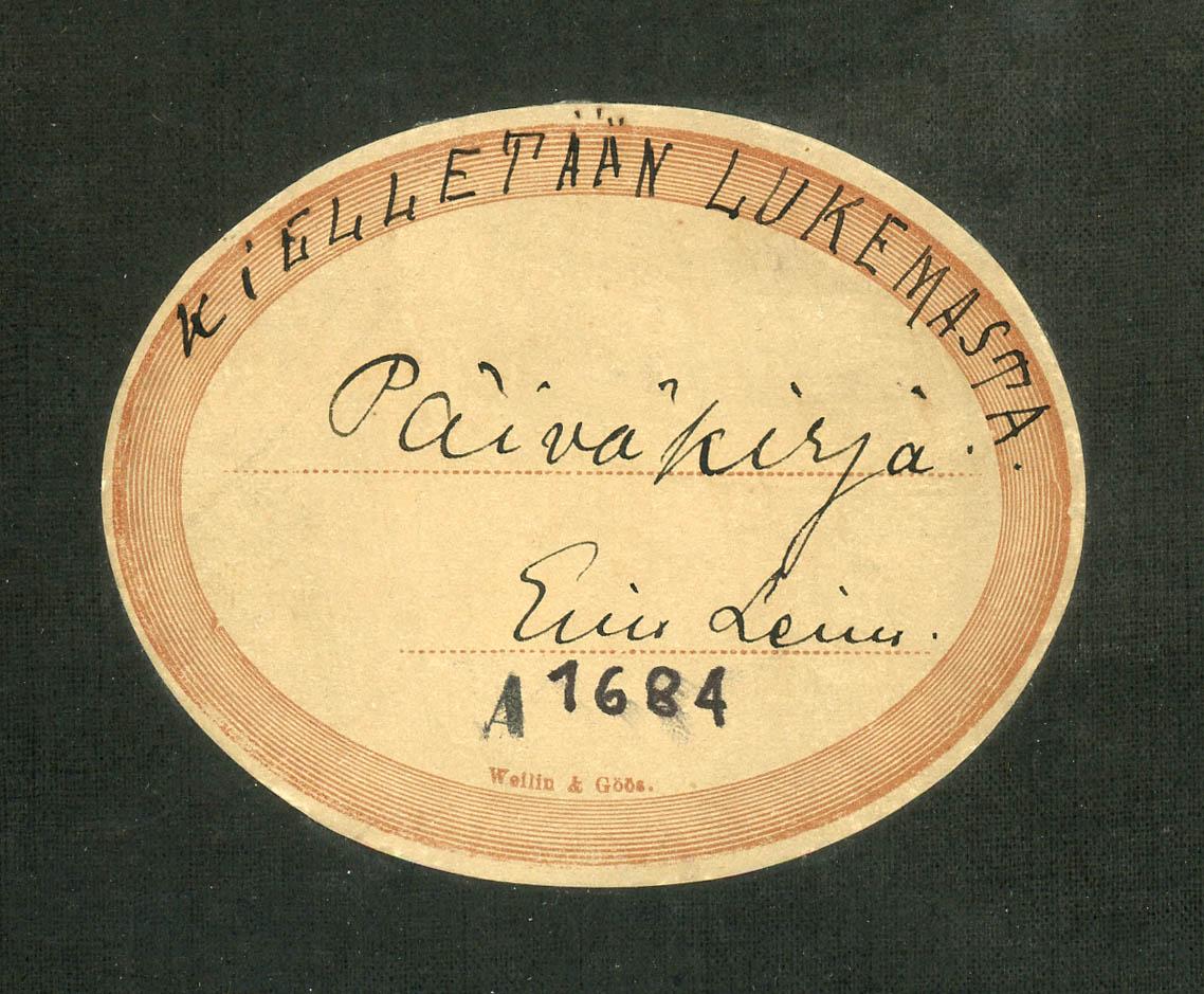 Eino Leinon muistikirjan nimiö. Muistikirja sisältää kirjallisten töiden luonnoksia, mm. luonnoksia Joulu-nimistä näytelmää varten.
