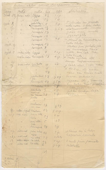 10. Juhani Ahon kalastuspäiväkirja Huopanankoskelta Viitasaarelta kesältä 1909 (SKS:n arkisto)