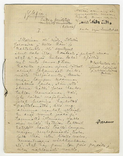 4. Juhani Ahon Yksin-romaanin käsikirjoituksen ensimmäinen sivu (SKS:n arkisto)