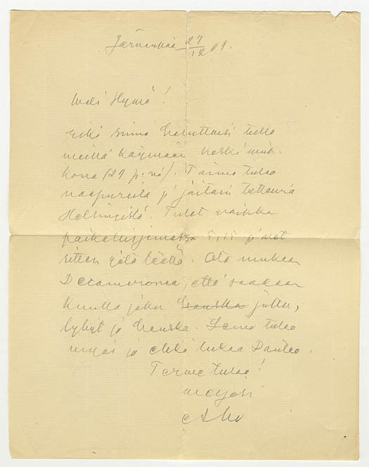 5. Juhani Ahon kirje kollegalleen Joel Lehtoselle (SKS:n arkisto)