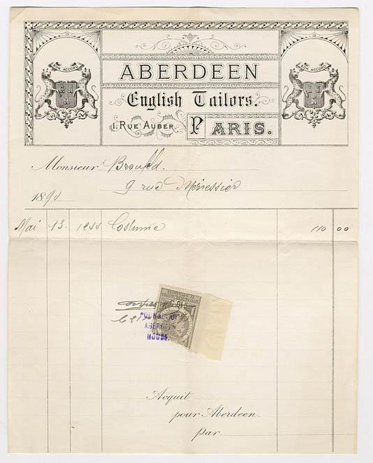 6. Monsieur Broufeldille osoitettu räätälin kuitti Pariisista vuodelta 1890 (SKS:n arkisto)