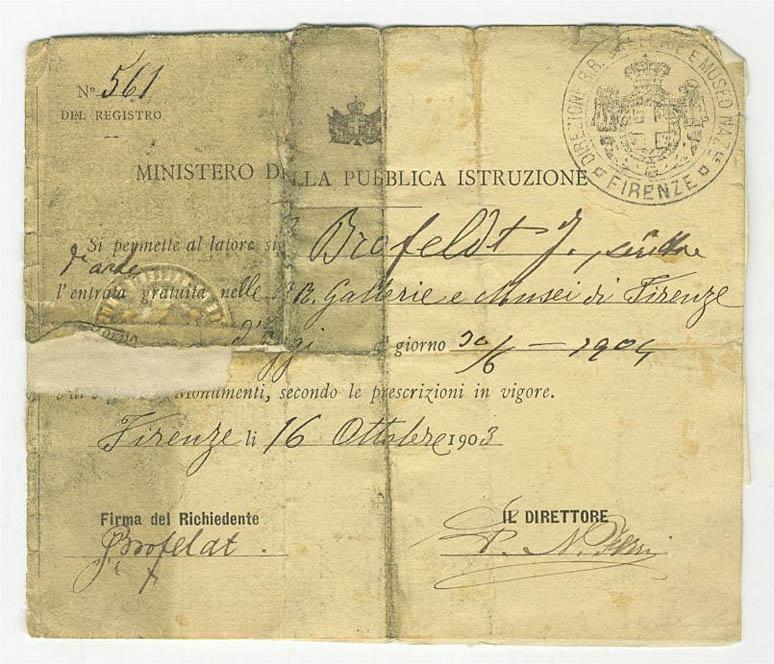 7. Lupakortti, jonka lehtimies Juhani Aho sai Firenzessä vuonna 1903, takasi ilmaisen sisäänpääsyn museoihin. (SKS:n arkisto)