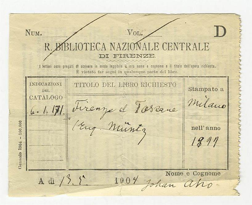 8. Juhani Ahon kirjastokuitti Firenzestä vuodelta 1904 (SKS:n arkisto)