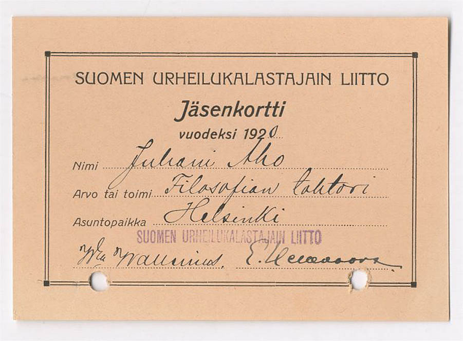 9. Suomen urheilukalastajain liiton jäsenkortti 1920 (SKS:n arkisto)