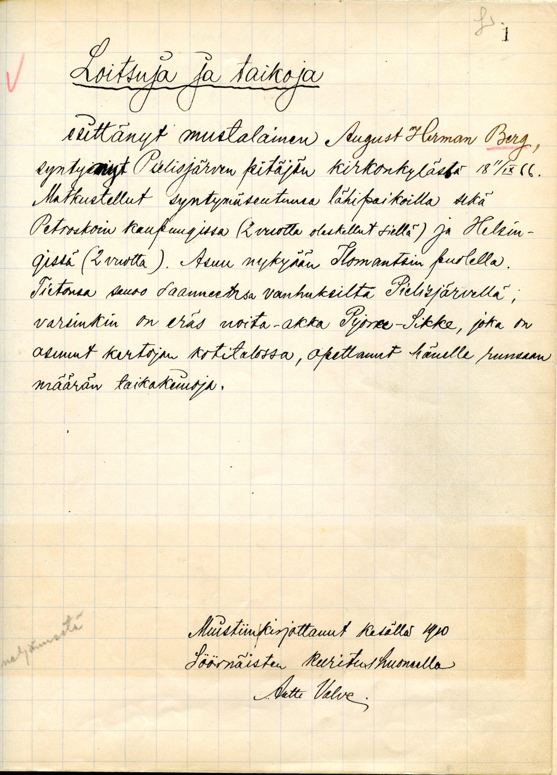 Esitietoja Antti Valven informantista August Herman Berg. SKS KRA Valve, Antti 1910-1911.