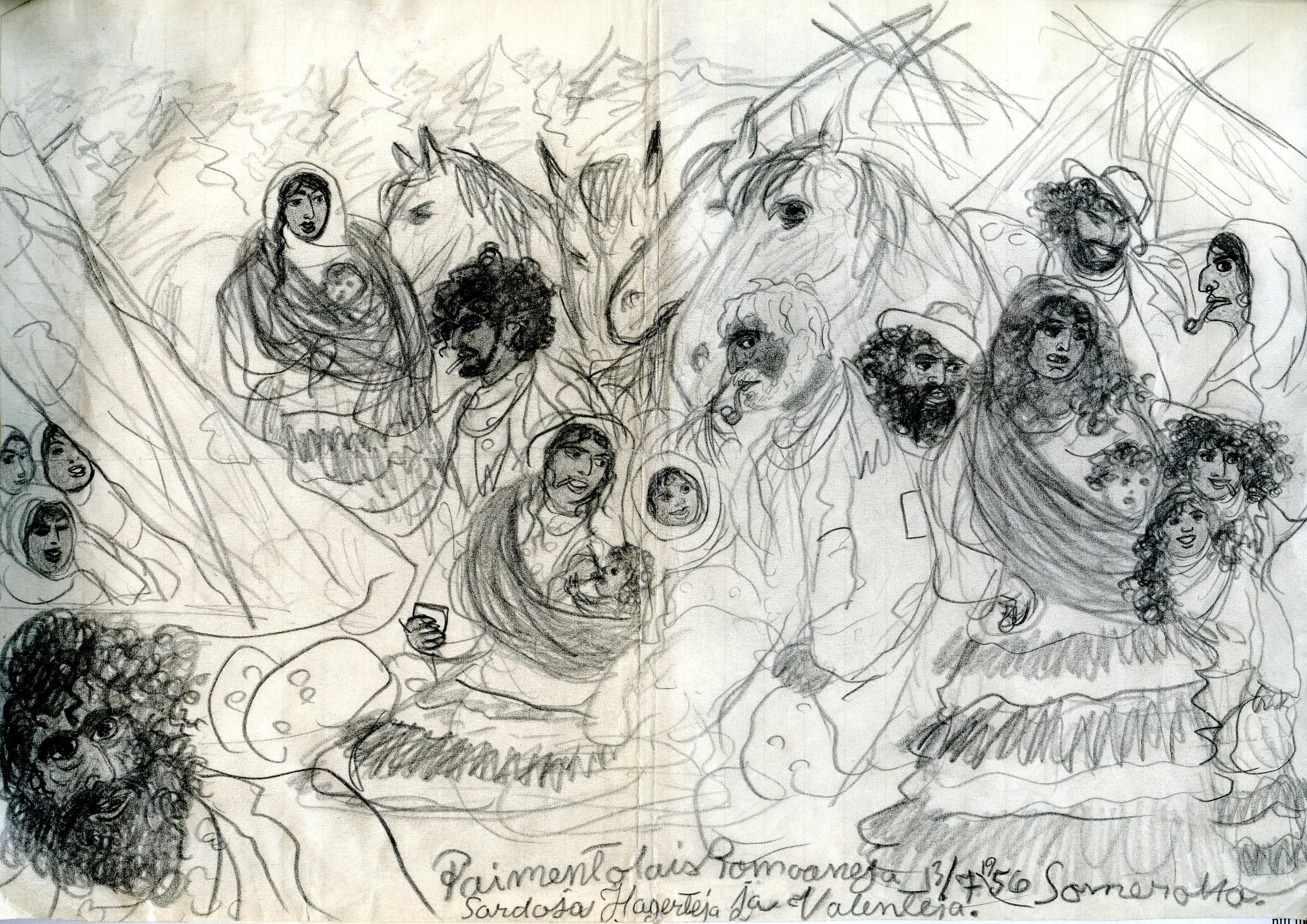 """Matti Simolan piirros: """"PaimentolaisRomaaneja 13.7.1956 Somerolla. Sardoja, Hagerteja ja Valenteja"""". Kuva: Matti Simola 1957. SKS."""