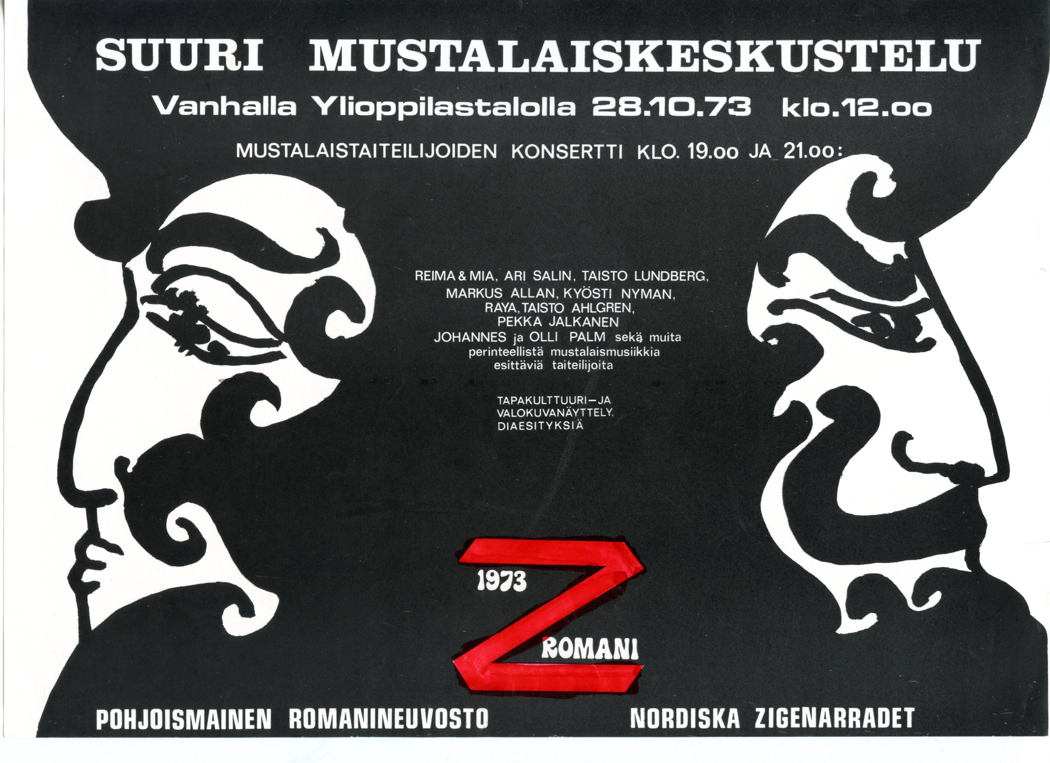 """""""Suuri mustalaiskeskustelu Vanhalla ylioppilastalolla 28.10.1973"""". Kuva: Gunni Nordströmin ja Armas Lindin valokuvat. SKS."""