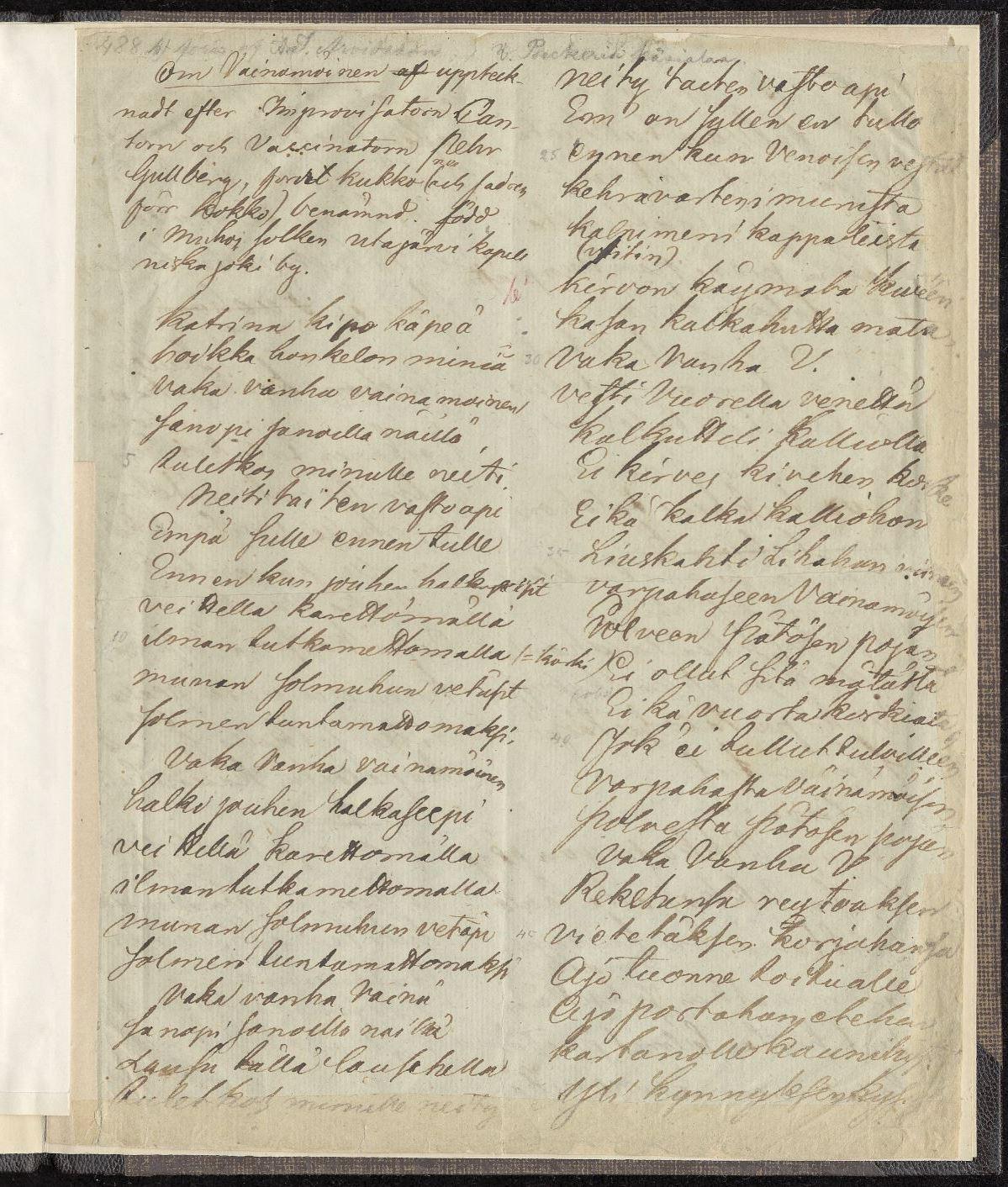 Reinhold von Beckerin tallentama kalevalamittainen runo Rovaniemeltä 1819.
