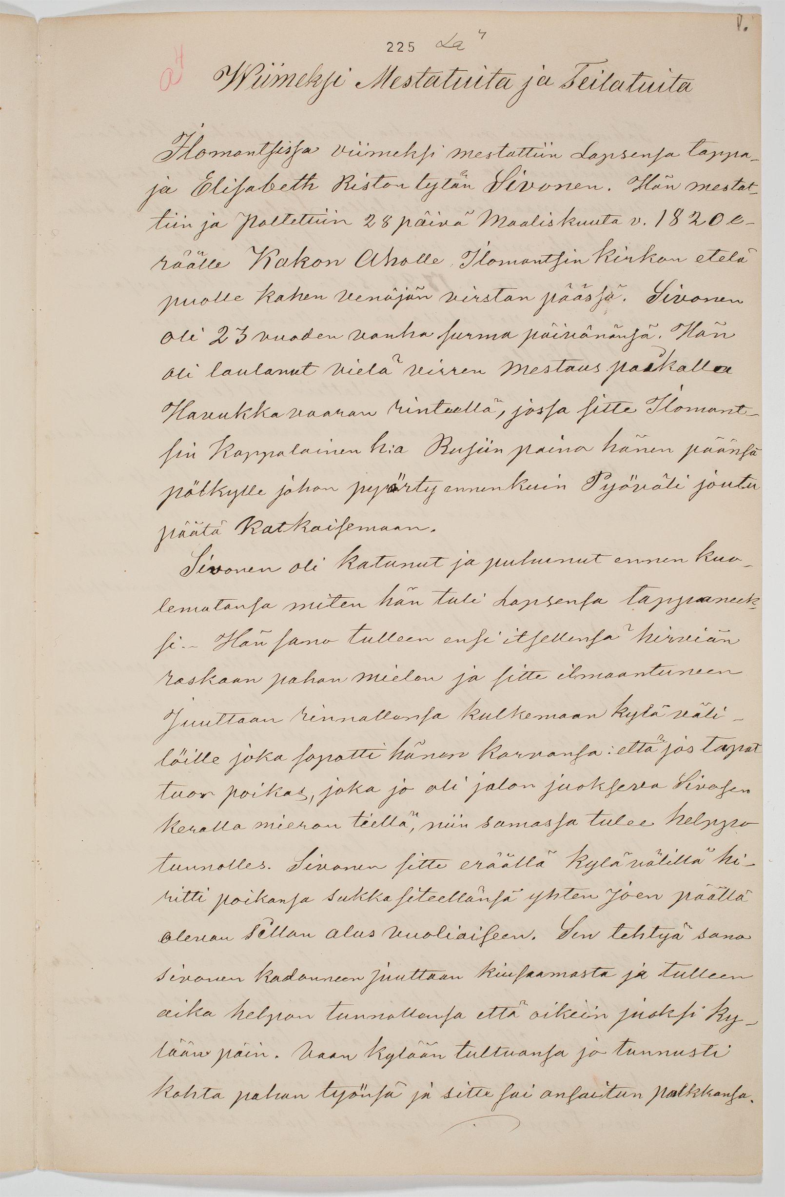 Henrik Laitisen tallentamaa muistitietoa kesällä 1866.