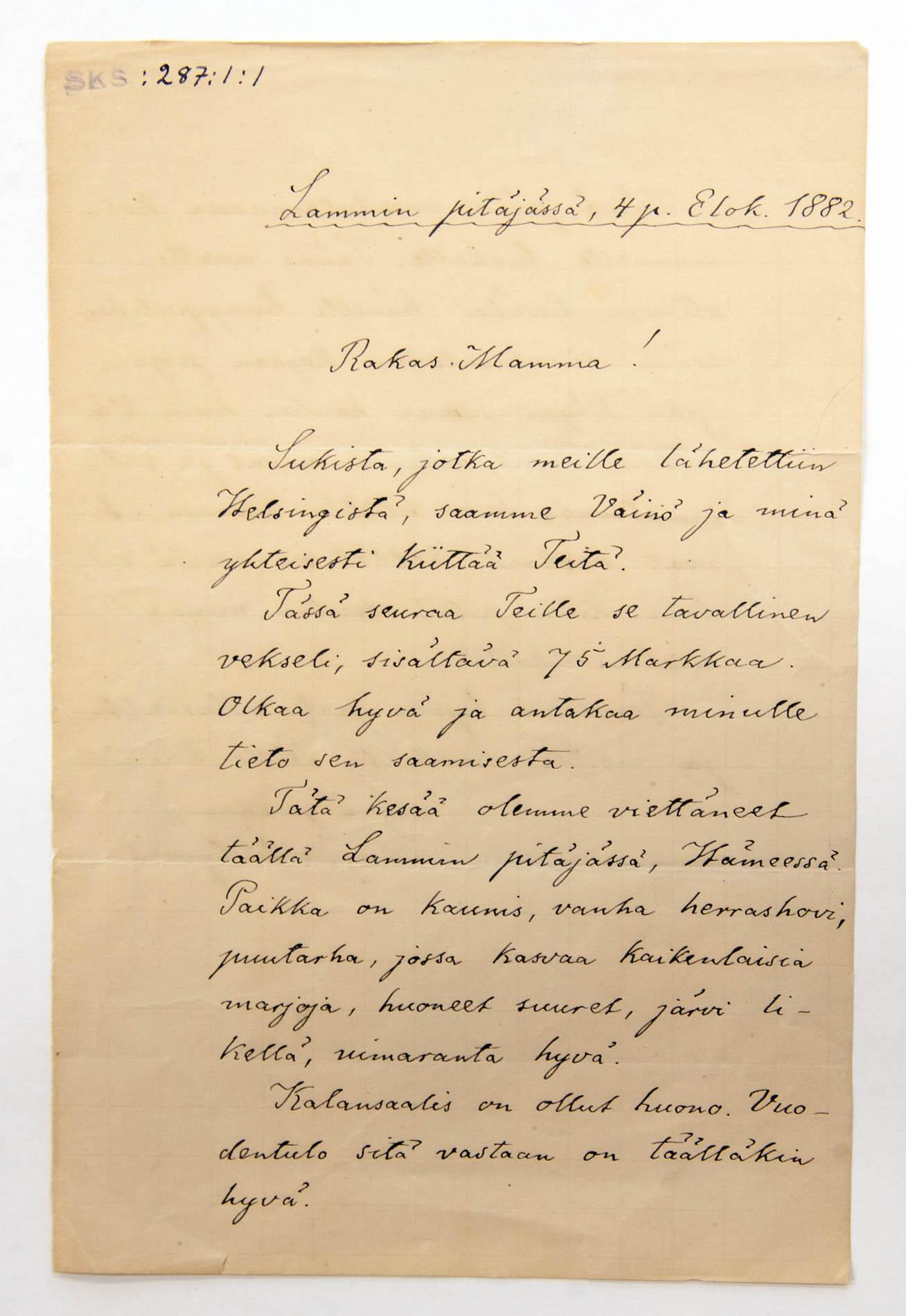 Rakas Mamma! Kirjailija ja professori August Engelbrekt Ahlqvistin kirje äidilleen Maria Augustina Ahlqvistille 4.8.1882.