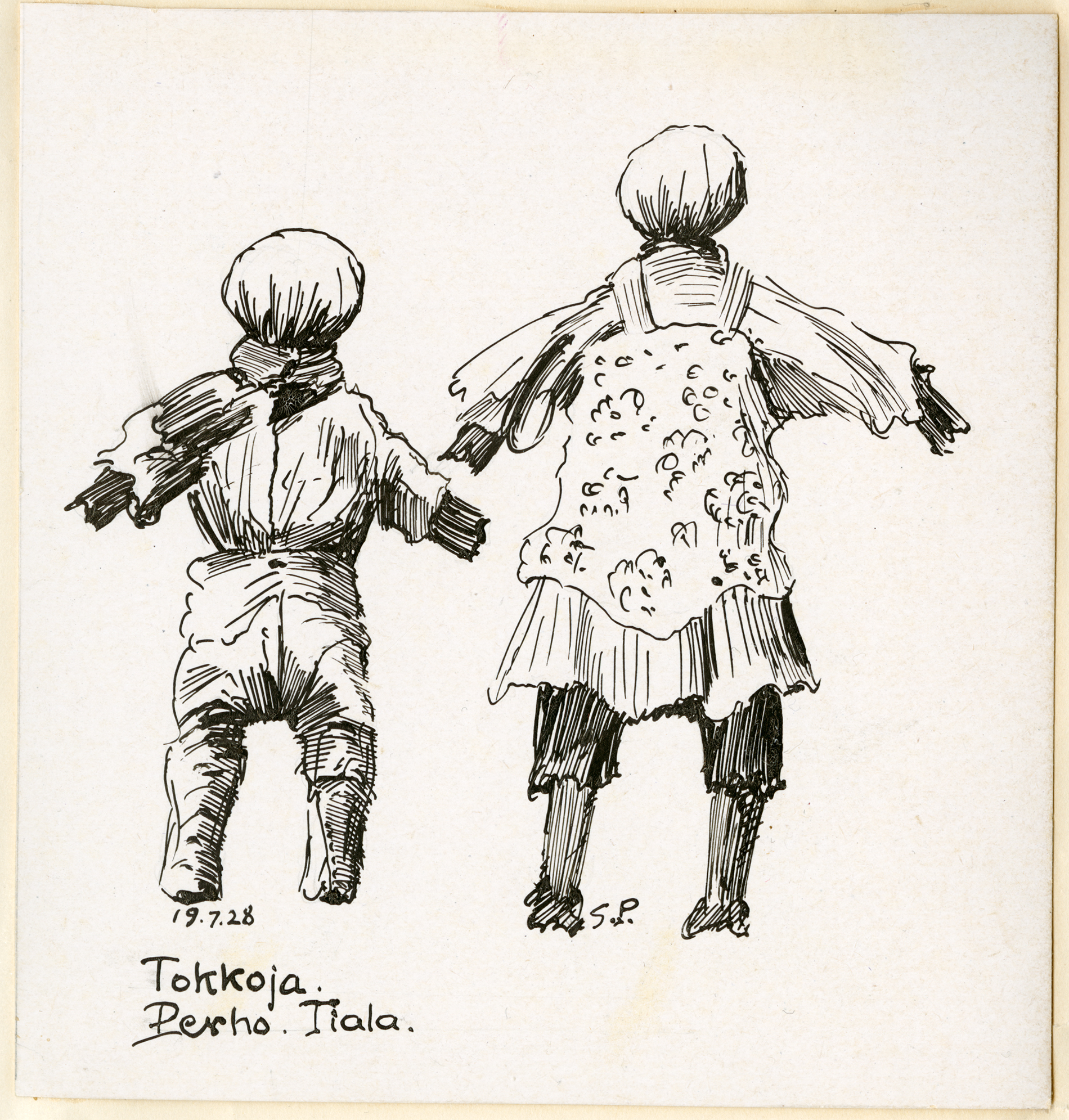 Räsynukkeja Perhon Tialasta, piirretty heinäkuussa 1928. SKS KRA. Piirtäjä Samuli Paulaharju.
