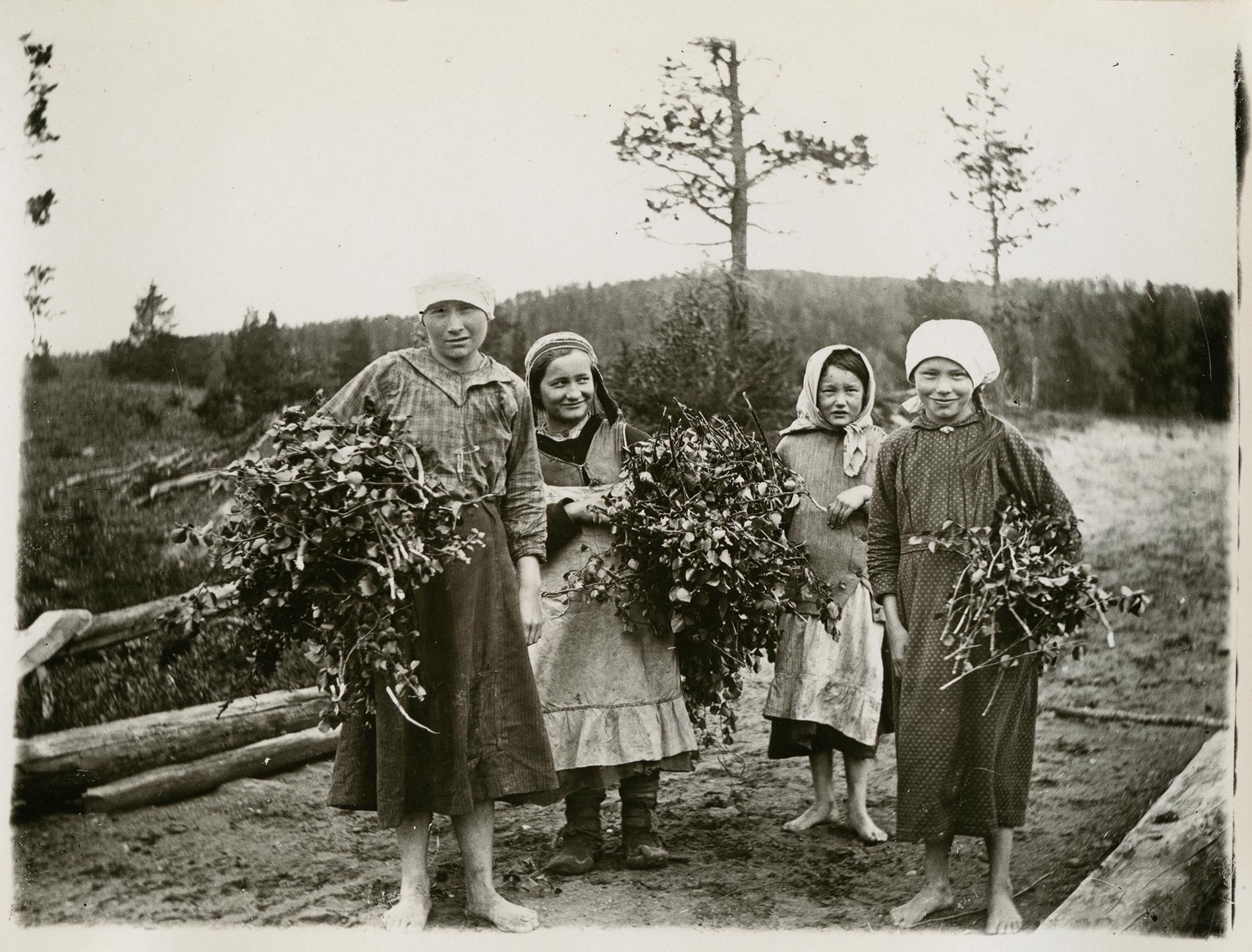 Tytöt tulevat luutavarpuja noutamasta. Enontekiö 22.6.1921. SKS KRA. Kuvaaja: Samuli Paulaharju.