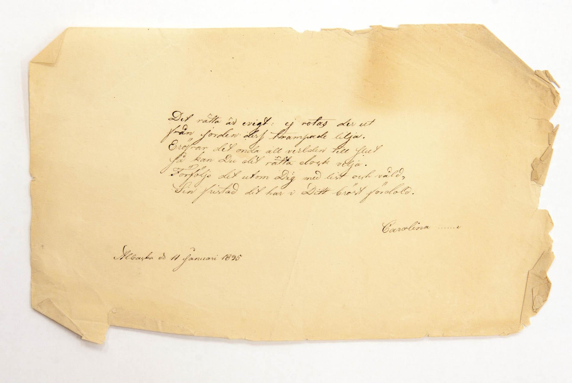 Hauras, Carolinan [Nordstrand] kirjoittama runotervehdys Wolmar Schildtille Albackassa tammikuussa 1835.