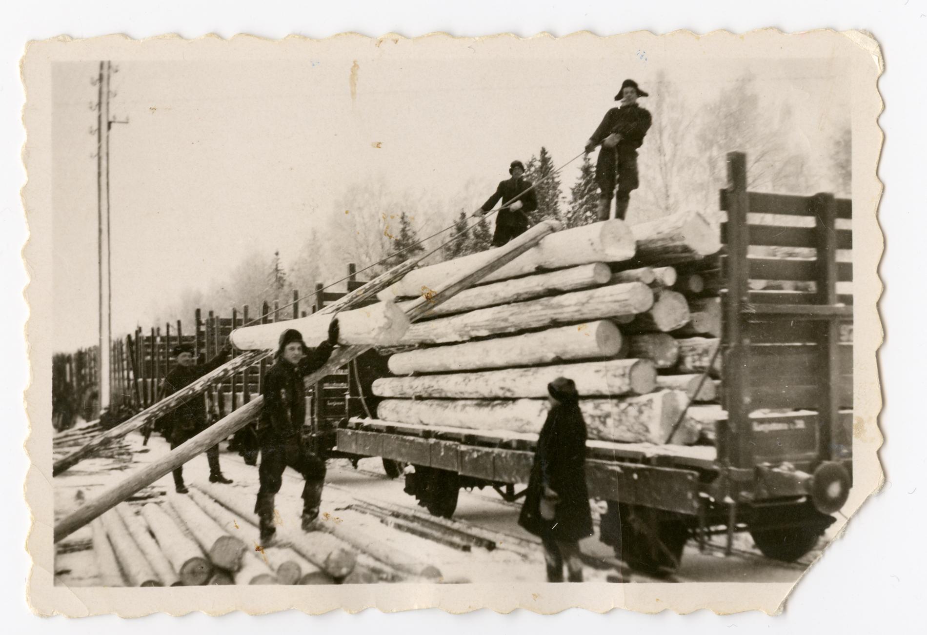 Toivo Hussi, Kalle Reiman, Otto Sakura, Herbert Savikorpi lastaamasa paaluja junanvaunuun Kanneljärvellä vuonna 1933. SKS KRA. Kuvaaja: tuntematon