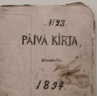 Päiväkirja 1894, kirjoittaja talollisen poika Juho Valtonen (1856–1930) Laitilasta.