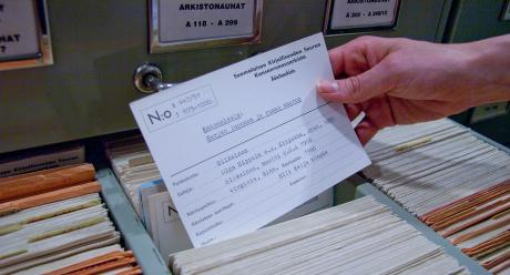 A-kortisto sisältää vanhimpien nauhojen sisältötiedot. SKS KIA. Kuvaaja: Milla Eräsaari.