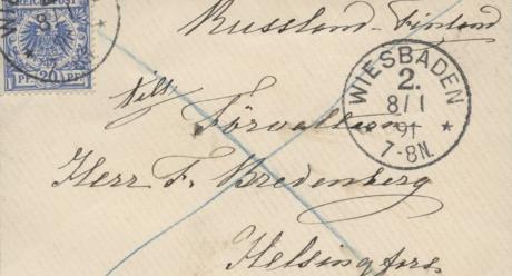 Kirjekuori Aurora Karamzinin kirjekokoelmassa, Espoon kaupunginmuseo. Lähde: Finna