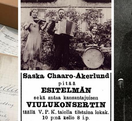 """Suomen Mustalaisteatterin esittämän Singoalla-näytelmän käsikirjoitus (1910-luku), Roosien mustalaisorkesteri Kiikalasta (1910-luku), Suomen Mustalaisteatteri (1910-luku), Mustalaislähetyksen """"Halkotarhaseurue"""" (1910-luku), Ferdinand """"Gaalo"""" Nikkinen (192"""