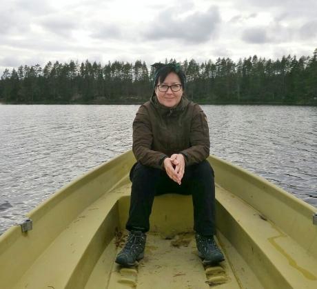 Maria Lähteenmäki Petkeljärvellä.